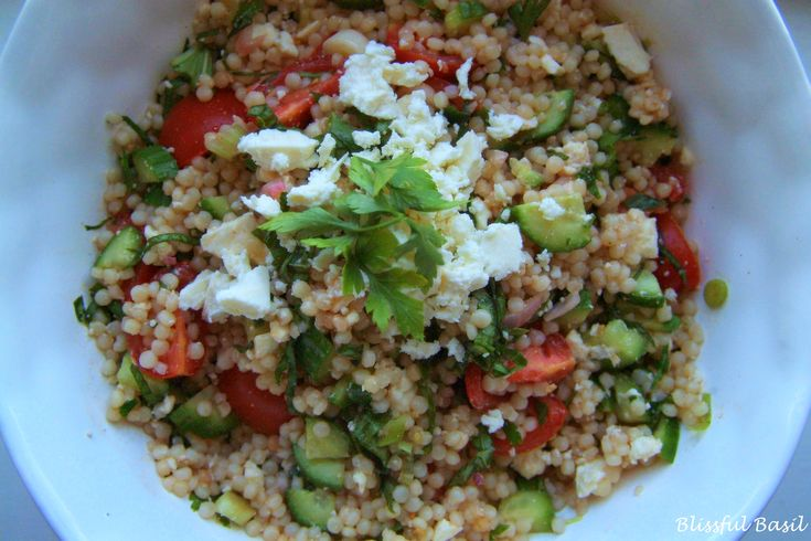 Herbed Cous Cous Salad omit feta for #vegan
