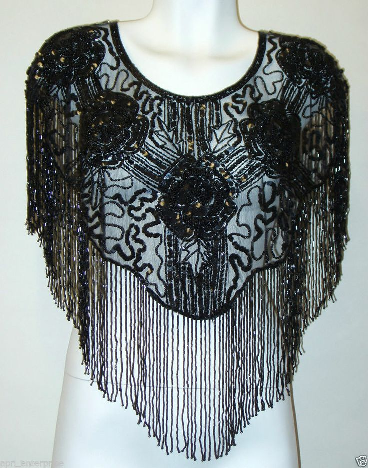 sequin beaded scarf shawl wrap black evening wear