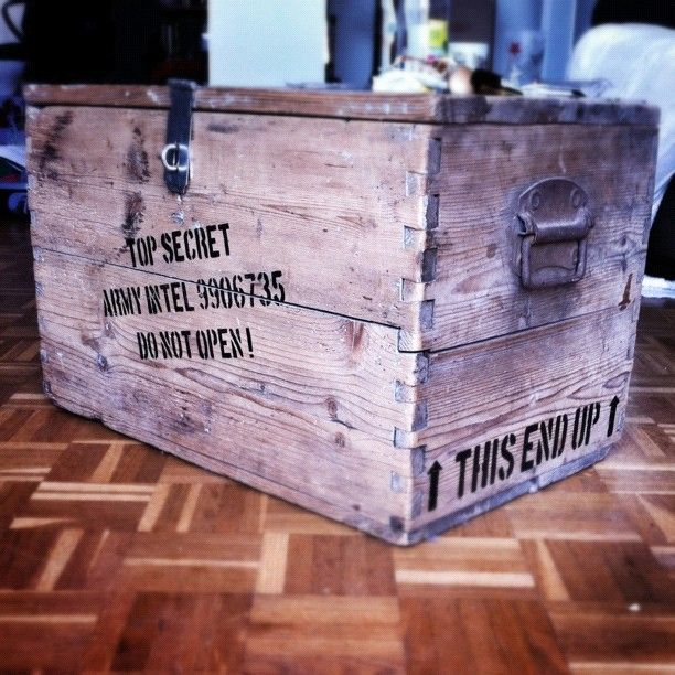 My #homemade #replica of one of the various #crates found in the #government #secret #hangar : An original #WW2 crate that I sanded and painted to match the #Indy #Movie look.   #Propmaking #DoctorJones #HarrisonFord #StevenSpielberg #TopSecret #Craft #TopSecret #IJKCS #IndianaJonesAndTheKingdomOfTheCrystalSkull #TFProps #DIY #Indy #Lucasfilm #TheRPF #RaidersOfTheLostArk #ROTLA #Roswell #Hangar51 #Prop #stencil