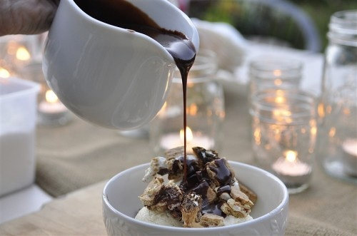mores Sundaes with hot fudge - make your s'more, crumble on top of ...