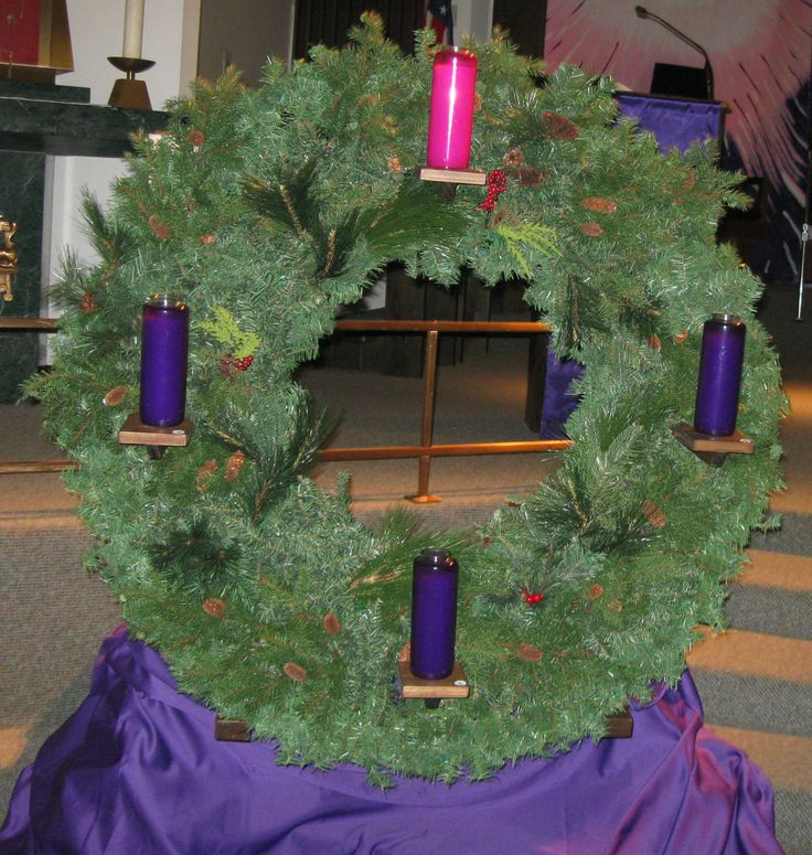 Advent Wreath made for St. John Church. It had glass enclosed candles ...