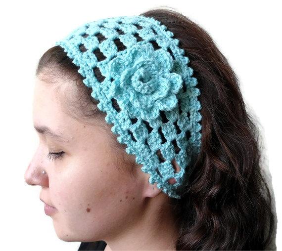mint green crochet headband hair accessories gift by likeknitting, $14 ...
