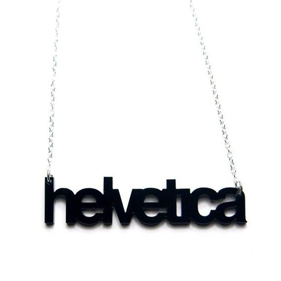 helvetica typography acrylic necklace by plastique on Etsy, $22.00