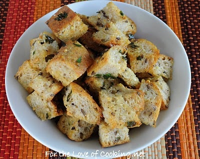 for the love of cooking homemade garlic and herb croutons