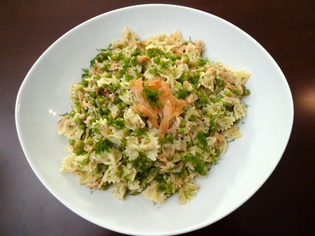 Pasta with Smoked Salmon and Peas in a Dill Cream Sauce