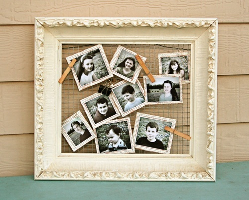 rustic picture frame/photo board.