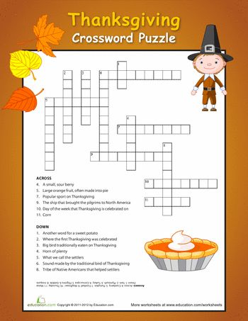 Vibrant image for thanksgiving crossword puzzle printable
