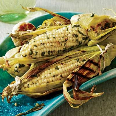 Grilled Corn on the Cob with Roasted Garlic and Herbs | Recipe