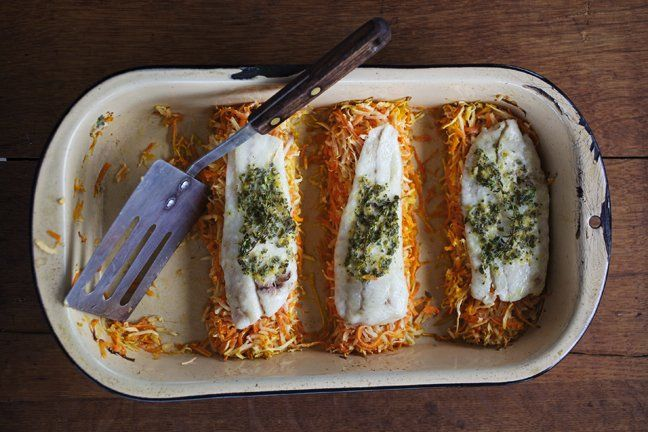 ... carrots and parsnips? Dinner. Baked Flounder with Parsnip and Carrot