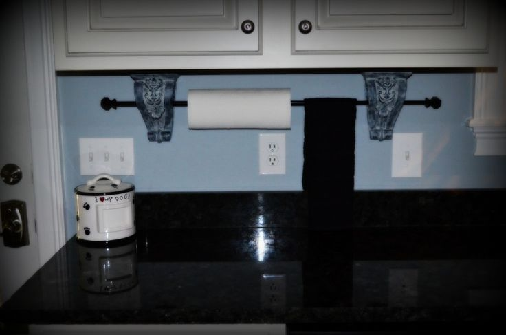 Paper towel & Hand towel holder..chalk paint to look like old stone.