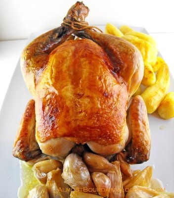 Roasted Chicken with 40 Cloves of Garlic + Oven Roasted Potatoes ...
