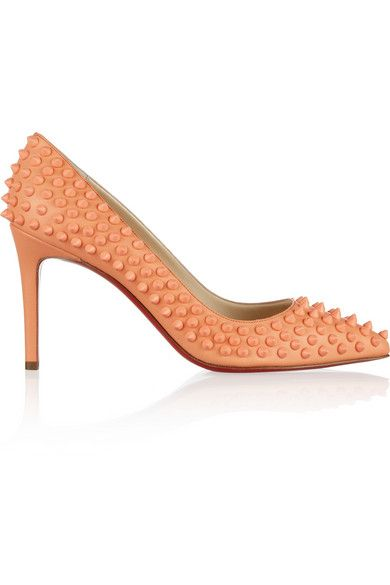 CHRISTIAN LOUBOUTIN Pigalle Spikes 85 leather pumps-SHERBERT!!