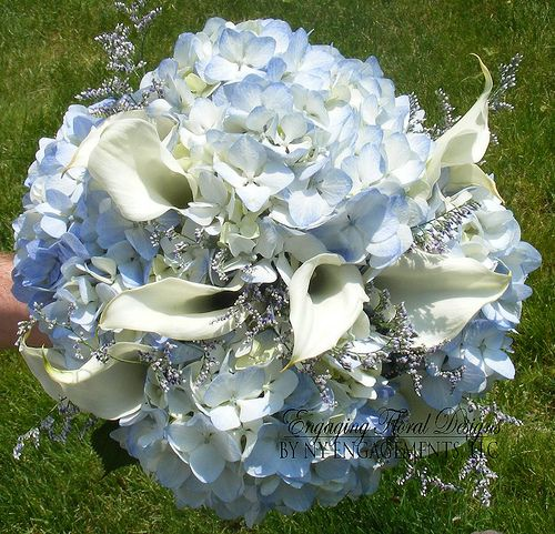 Bridal Bouquet of blue hydrangeas, white calla lilies, and limonium photo by NY Engagements LLC from Flickr at Lurvely