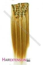 Blonde mixed 7pcs straight full head set clip in human hair extension