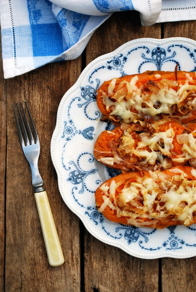 Twice Baked Sweet Potatoes with Caramelized Onions and Gruyere.