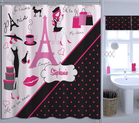 ... Paris Shower Curtain, Paris Shower Curtain, Polka Dot Shower C