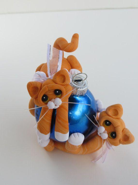Polymer Clay Christmas Ornaments | Polymer Clay Christmas Ornament Orange Tabby by HeartOfClayGirl