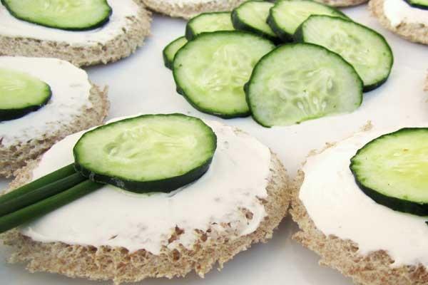 Open-Face Cucumber Sandwich Bites   Kids Party   Pinterest