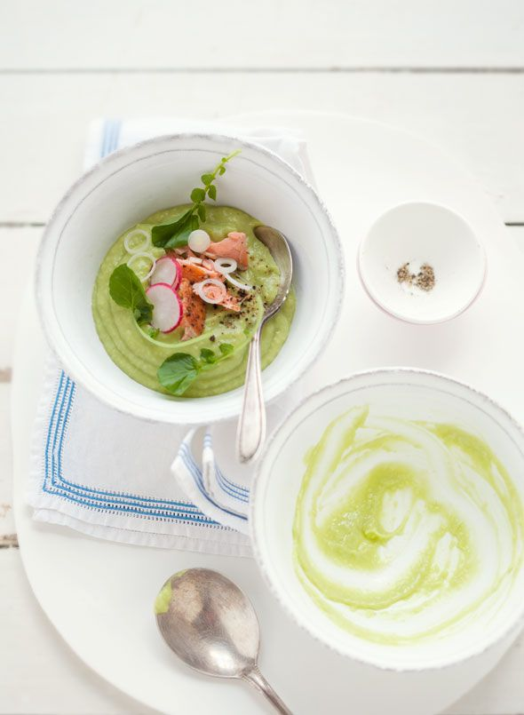 ... of summer: Avocado, apple and poached salmon soup. Sounds delicious