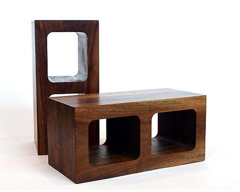 // wooden cinder blocks