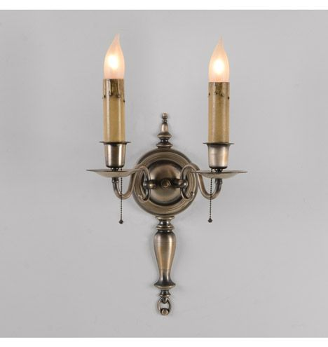 Pair+Colonial+Revival+Antique+Pewter+Double+Sconce,+c1930+Check+with ...