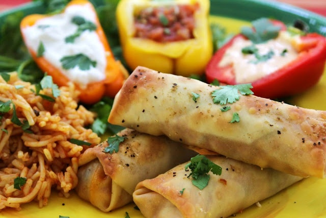 Baked Chicken Taquitos - Uses egg roll wrappers from the grocery ...