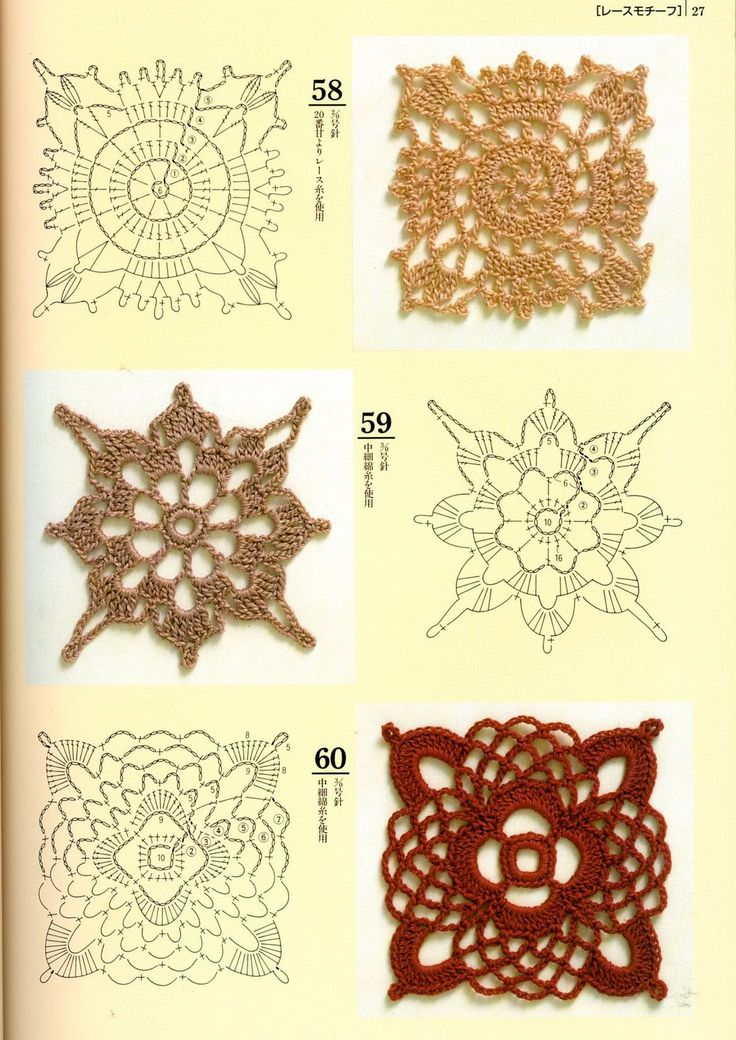 Crochet Stitches Japanese : Japanese crochet motifs with diagrams Crochet stitches Pinterest