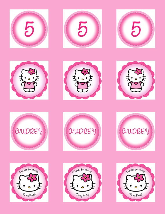 Hello kitty cupcake toppers kids party ideas pinterest for Hello kitty cupcake topper template