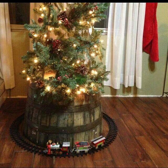 Whiskey barrel tree christmas pinterest