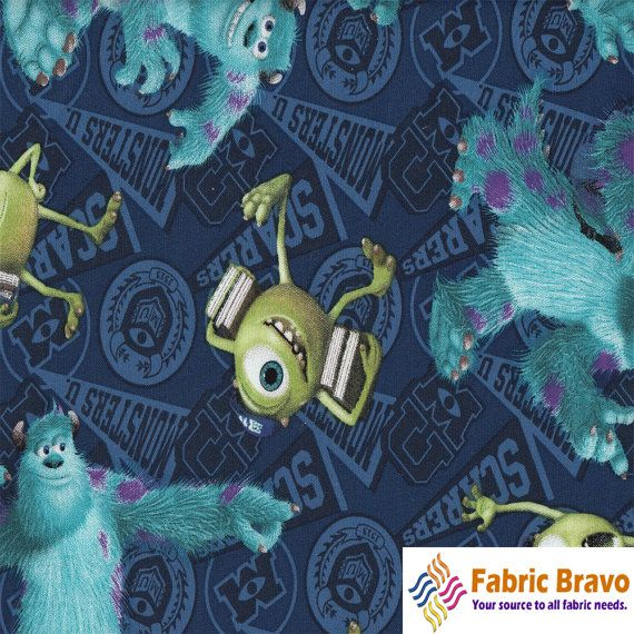 Monsters inc university blue 100 percent cotton fabric by for Monster themed fabric