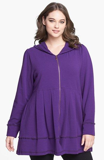 Pink Lotus Pleated Tunic Hoodie (Plus Size) | Nordstrom
