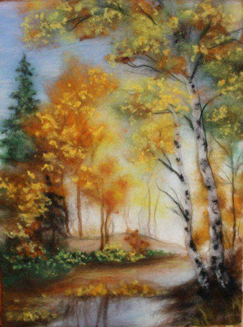 Картины шерстью пейзажи мастер класс
