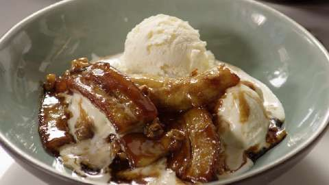 Bananas Foster Crepes With Vanilla Ice Cream Recipe — Dishmaps