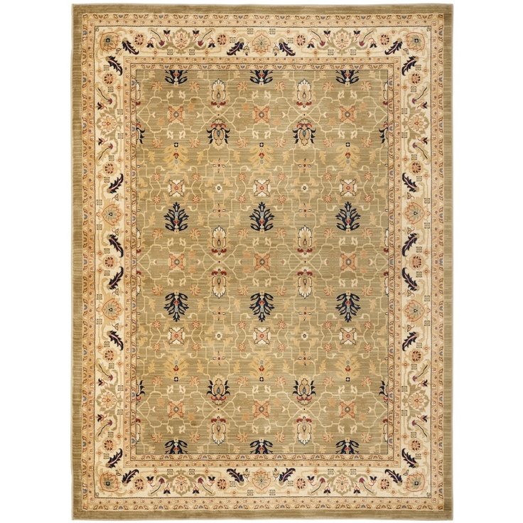 Farahan green cream rug 582 for Green and cream rugs