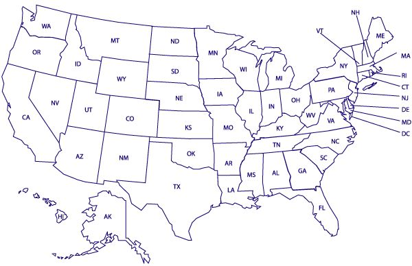 USA Blank Printable Map With State Names Royalty Free Jpg - Map of the us with abbreviations