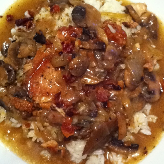 Lauren's kitchen - smothered dutch oven pork chops over white rice ...