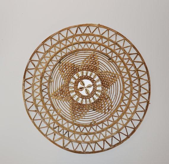 Wicker And Seashell Star Shaped Wall Hanging Bohemian