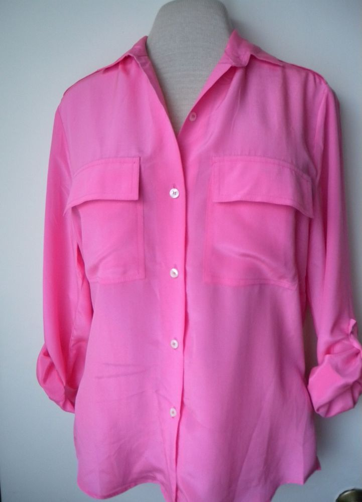 Hot Pink Shirt Womens Button Down 100 Silk Long Sleeve