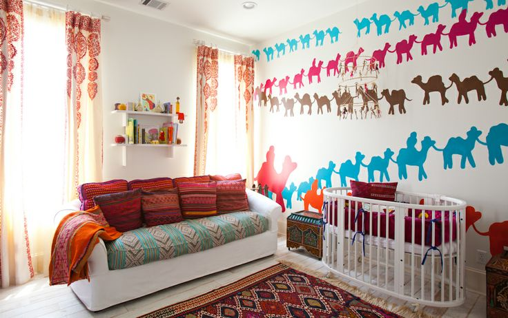 Laura U Interior Design | www.laurau.com Southampton Moroccan Interior Design #kidsroom #moroccan #nursery #bedroom #whimsical #headboard  #colorful #fun #playful #interior #interiordesign #camel #wallart #wallpaper