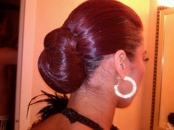 banana peel hairstyle : Latin or Ballroom Hairstyle Rhinestones and Feathers Pinterest