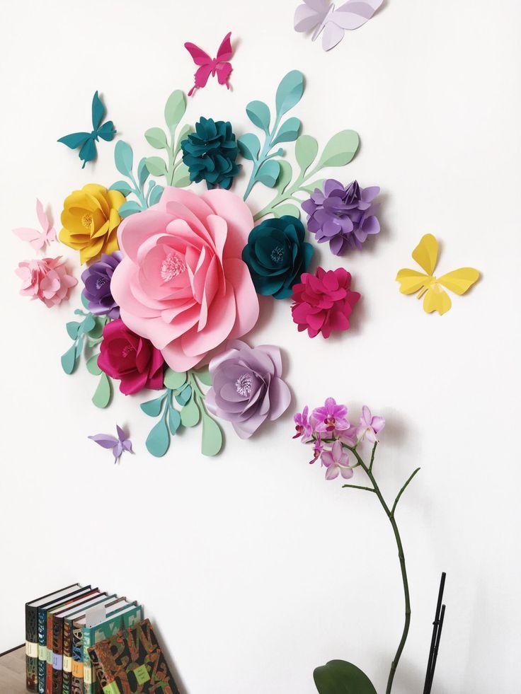 Мастер класс объемные цветы из бумаги на стену своими руками 100