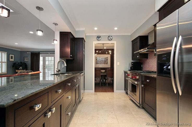 Dark wood kitchen cabinets gray walls house ideas Kitchen designs with grey walls