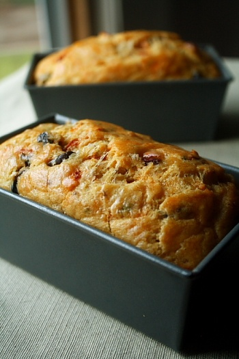 savory zucchini bread with roasted summer tomatoes and parmesan