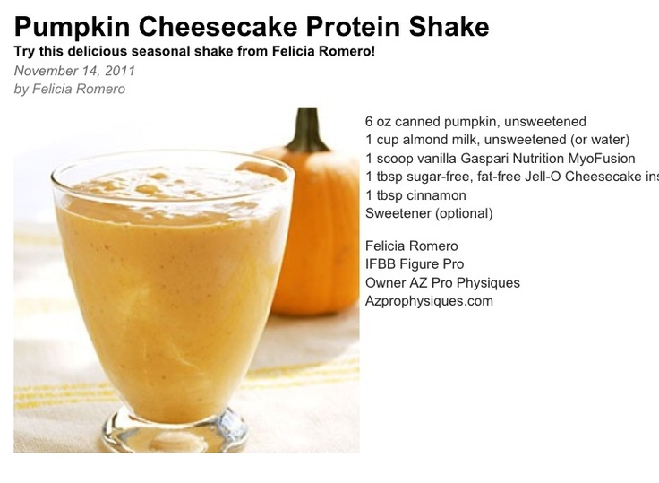 Pumpkin Cheesecake Protein shake | Fitness, Weight loss and Wellbeing ...