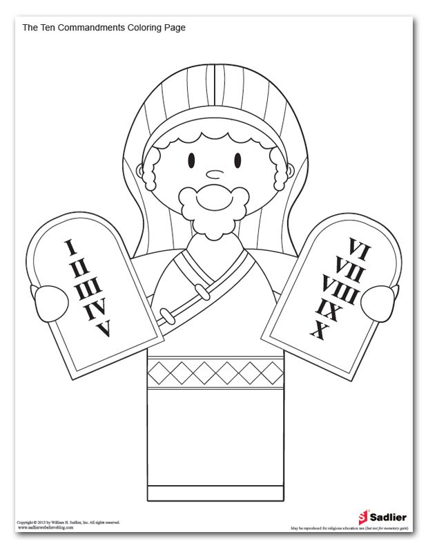 Ten Commandments Coloring Page Pages For