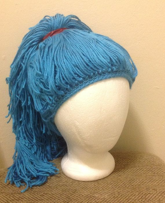 Crochet Hair Wig : Crochet yarn Hat Hair wig,women, baby, kids,ligh blue hair, wig ...