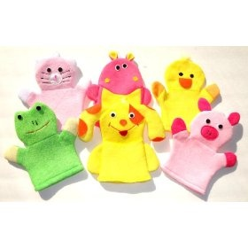 Washcloth Hand Puppet Terrycloth Washmitt Set of 3 - Froggy, Kitty, Puppy, Piggy, Duckie & Hippo.  List Price: $44.95  Sale Price: $18.95  Savings: $26.00