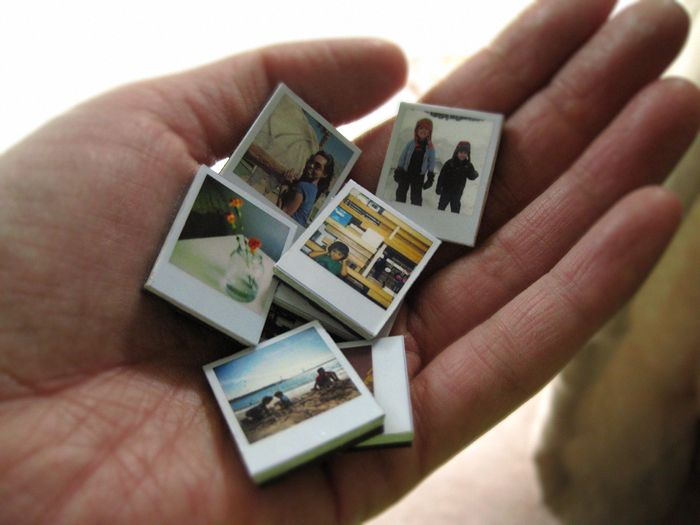 How to make tiny polaroid photo magnets. Too cute!