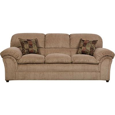 Simmons Champion Tan Sofa With Pillows Furniture