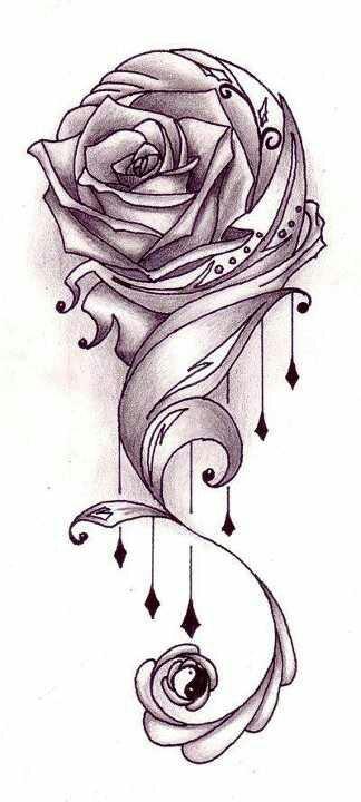 Beautiful rose drawing love pinterest for Pretty rose drawings